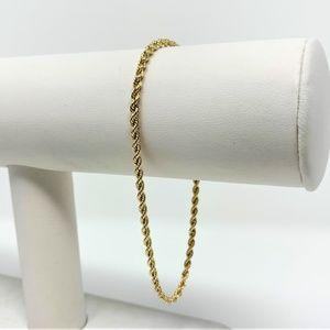 "Jewelry - 14k Gold Hollow Diamond Cut Rope Chain Bracelet 8"""